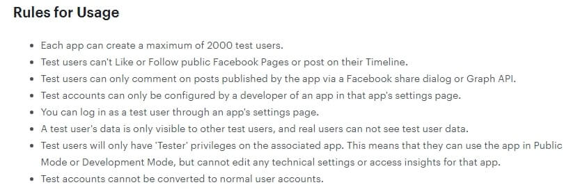 Facebook application rules for usage