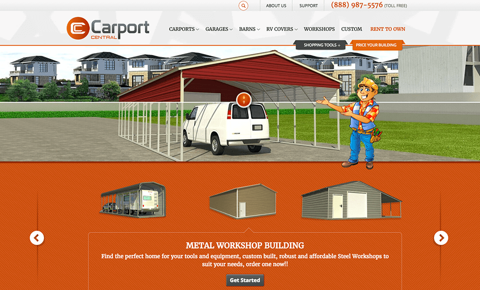 Digital Marketing Services for Carport Central Company